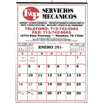 Small Commercial 12 Sheet Calendar (Spanish)
